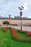 Kremlin no dia de mola nebuloso, Rússia de Veliky Novgorod Foto de Stock Royalty Free
