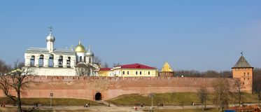 kremlin novgorodpanorama Fotografering för Bildbyråer