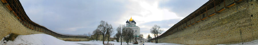 Kremlin panorama. Wide-angle panorama of the walls of the Russian Kremlin and cathedral in winter royalty free stock image