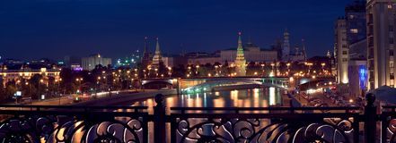 Kremlin panorama, night view Royalty Free Stock Images
