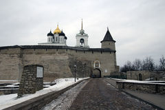 Kremlin in Pskov. Ancient kremlin in Pskov, Russia Royalty Free Stock Photography