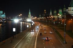 Kremlin quay at night Stock Images