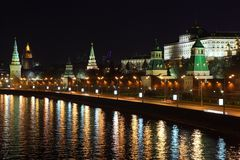 Kremlin quay at night Royalty Free Stock Photos