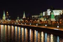 Kremlin quay at night Royalty Free Stock Photos