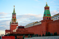 Kremlin on Red Square, Moscow, Russia. Spasskaya tower and mausoleum in Kremlin on Red Square, Moscow, Russia Royalty Free Stock Images