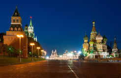 Kremlin, Red Square and Saint Basil church at night Stock Images