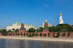 Kremlin red wall and Moscow river under blue sky in summer Royalty Free Stock Photography