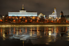 Kremlin Reflections at Winter Night Royalty Free Stock Images