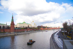Kremlin. The river and the fortress on the shore against the blue cloudy sky Stock Photography