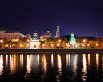 Kremlin from river at night in Moscow Royalty Free Stock Photography