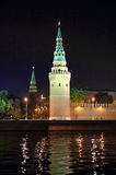 Kremlin from river at night in Moscow Stock Photos
