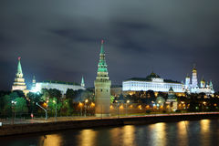 Kremlin from river at night in Moscow Royalty Free Stock Images