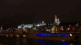 The Kremlin, river and riverboat evening in winter stock video