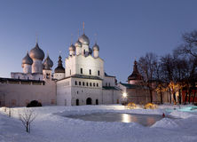 The Kremlin of Rostov the Great in the late evening Stock Photography