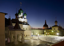 The Kremlin of Rostov the Great at night, the tower, the Church of Hodigitria and Red chamber Royalty Free Stock Images