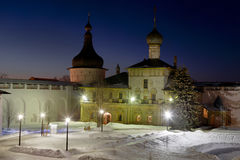 The Kremlin of Rostov the Great at night,the tower, the Church of Hodigitria, Stock Photos