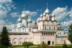 Kremlin of Rostov The Great, Russia. Assumption Cathedral and church of the Resurrection in Rostov Kremlin. The ancient town of Rostov The Great is a tourist Stock Photography