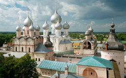 Kremlin of Rostov The Great, Russia. Assumption Cathedral and church of the Resurrection in Rostov Kremlin, Russia. Included in World Heritage list of UNESCO Royalty Free Stock Photo