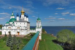 The Kremlin of Rostov the Great on the shore of Lake Nero. The Kremlin of Rostov the Great and its wall on the shore of Lake Nero Stock Images