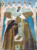 kremlin rostov Sikt av den forntida symbolen som lokaliseras på väggen av kyrkan Arkivbild