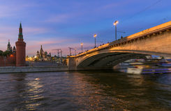 Kremlin, Saint Basil s Cathedral, Bolshoy Moskvoretsky Bridge and Moscow river in Moscow, Russia Royalty Free Stock Image