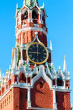 Kremlin Saviour (Spassky or Spasskaya) tower. Of Moscow Kremlin on Red Square in spring sunny day. Moscow. Russia Royalty Free Stock Photo