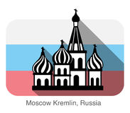 Kremlin silhouetta, famous landmark seriers. Background is Russian national flag Stock Image