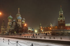 Kremlin in snowfall at night in Moscow Stock Photos