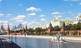 Kremlin and Sofiyskaya Embankments of Moskva River Stock Photos
