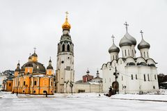 Kremlin square in Vologda, Russia with old church and Saint Sophia Cathedral. Vologda, Russia. Kremlin square in Vologda, Russia with old church and Saint Sophia Royalty Free Stock Image