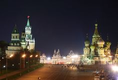 Kremlin and St. Basil cathedral at night Stock Photography