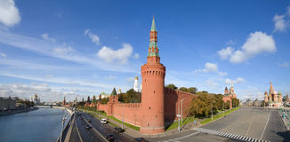Kremlin,  St Basil Cathedral panorama, Moscow Royalty Free Stock Photo