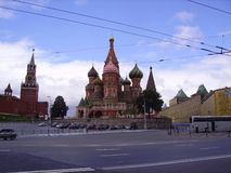 Kremlin and St. Basil`s Cathedral, Moscow, Red Square. stock photos
