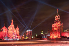Kremlin and St. Basil's Cathedral on Red Square Stock Images
