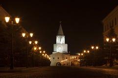 Kremlin street at night. Kazan Kremlin, Kazan, Republic of Tatarstan, Russia Stock Photo