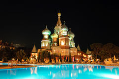 Kremlin style hotel, Antalya, Turkey. Kremlin style popular hotel in night illumination, Antalya, Turkey Royalty Free Stock Image