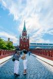 Kremlin tour 3: Bridge over tunneled Neglinnaya ri. Bridge over tunneled Neglinnaya river and Troitskaya (Trinity) tower of the Kremlin of Moscow, Russia, on Royalty Free Stock Photography