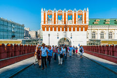 Kremlin tour 4: Kutafia tower and the bridge over. Kutafia tower and the bridge over tunneled Neglinnaya river of Moscow, Russia, on Monday, August 4, 2014 Royalty Free Stock Photography
