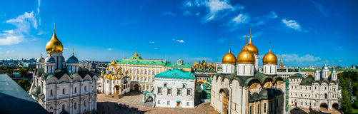 Kremlin tour 17: Panorama of Cathedral square of t Royalty Free Stock Photography