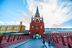 Kremlin tour 6: Two women meet on the bridge. Two women meet on the bridge over tunneled Neglinnaya river of Moscow, Russia, on Monday, August 4, 2014 Stock Photography