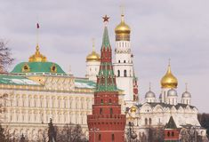 Kremlin Tower with a Red Star Stock Photography