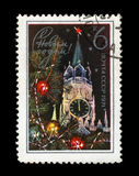 Kremlin tower with red star, decorated fir-tree for New Year, circa 1970, Royalty Free Stock Photo