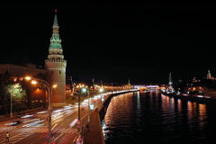 Kremlin tower and river at night Royalty Free Stock Images