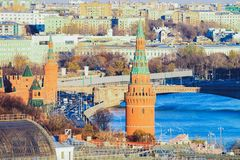 Kremlin Towers and Bolshoy Moskvoretsky Bridge with cityscape of Moscow. City in Russia in the morning stock photos