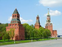 Kremlin towers, Moscow. Famous Kremlin towers on the Red Square, Moscow, Russia stock image
