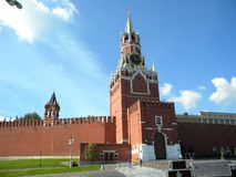 Moscow Kremlin main tower in summer bottom view stock photos