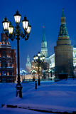 Kremlin towers in winter snowing night Royalty Free Stock Photos