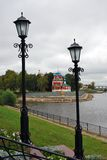 Kremlin in Uglich, Russia. Vintage style street lights. Stock Photography