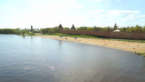 Kremlin of Velikiy Novgorod, Russia. River Volkhov stock video footage