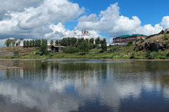 Kremlin of Verkhoturye on the shore of Tura River Royalty Free Stock Photography